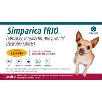 Simparica TRIO 12pk 2.8-5.5 lbs Chew product detail number 1.0
