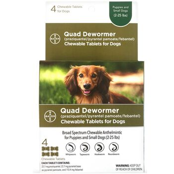Bayer Quad Dewormer Chewable Tablets for Dogs Puppies and Small Dogs 4 ct product detail number 1.0