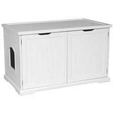 Cat Litter Box Cover and Cabinet White-product-tile