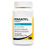 Rimadyl is a prescription NSAID to help relieve your dog's pain, caused by arthritis or surgery.